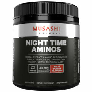 MUSASHI Night Time Aminos 300g Oral Powder - Fruit Punch Flavour for Recovery