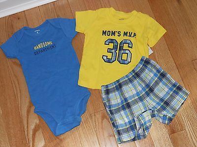 NWT Boys Yellow Short Sleeve Blue Bodysuit 3pc Plaid Shorts MVP Set Newborn NB