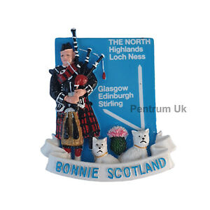 Scotland-Fridge-Magnet-Scottish-Piper-with-Glasgow-Highland-Direction-2-Dogs