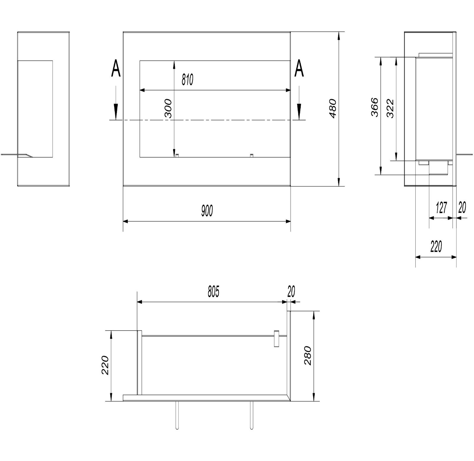 Bio Ethanol Kamin DELTA DELTA DELTA schwarz 900 rechte offen für Wand Einbau 90 cm breit 20ed8d
