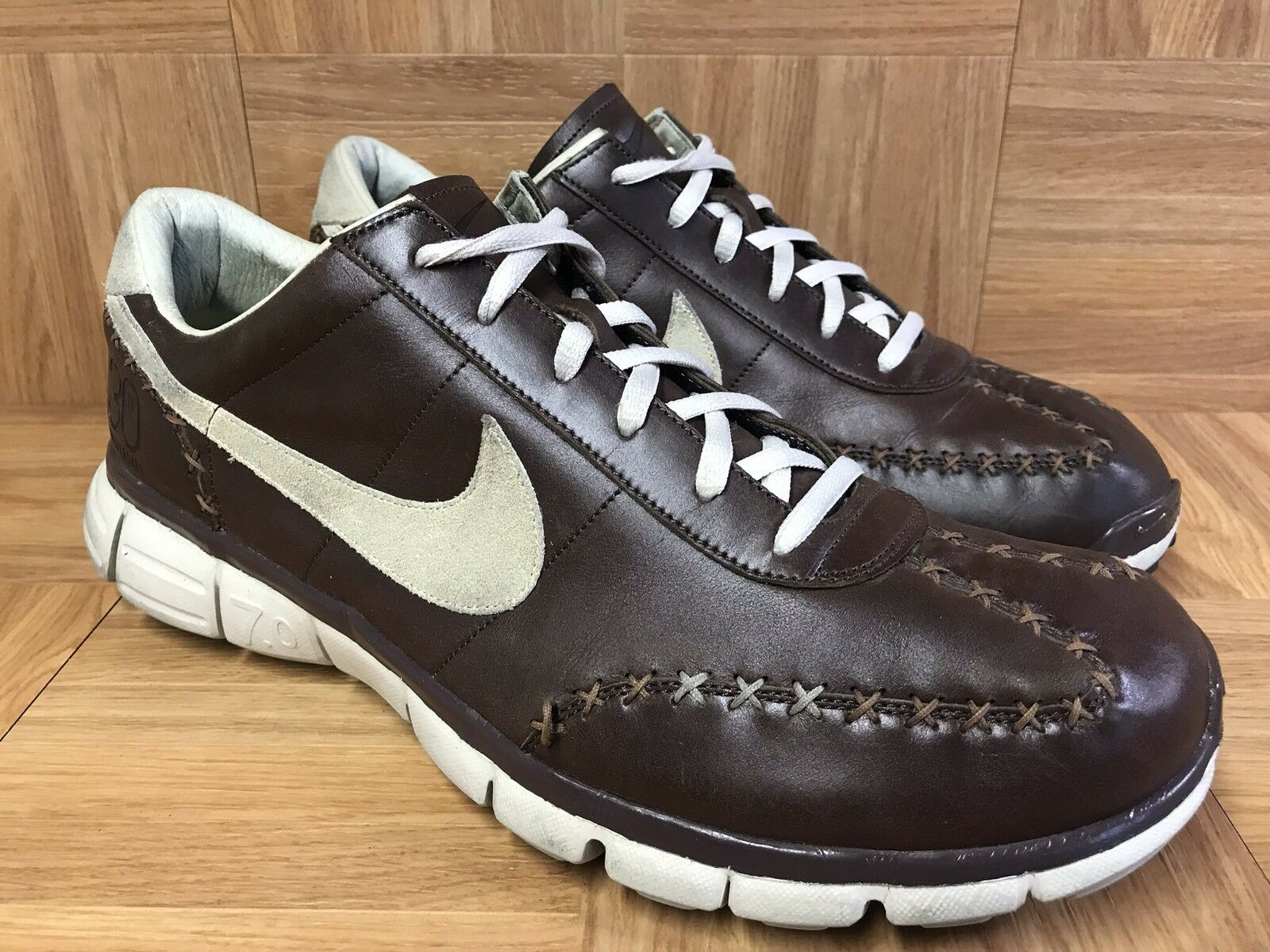 RARE Nike Free Run 7.0 Brown Sewn Stitched Grain Premium Leather Sz 13 Men's