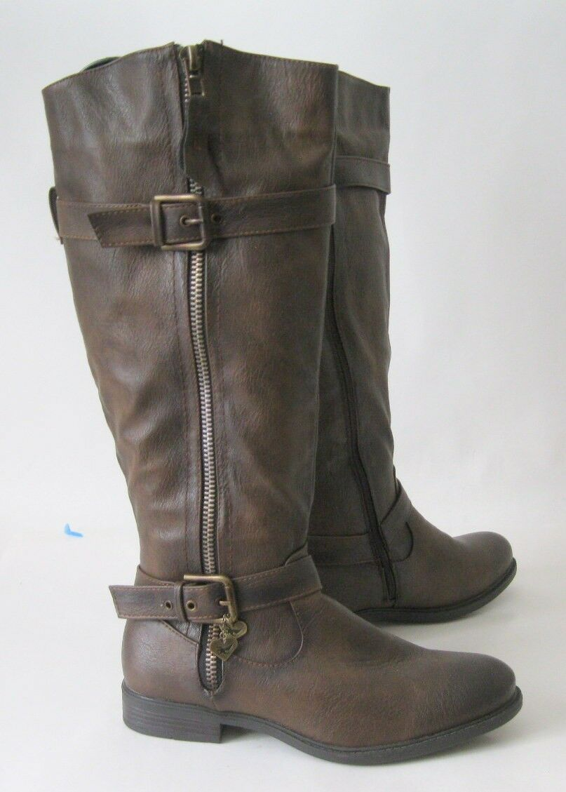 New ladies Brown 1.5 Low Thick Heel Round Toe Side Buckle Sexy  Knee Boot Size 9