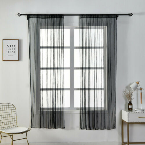 1PC Solid Volle Sheer Panel Window Curtain Tulle Treatment Drape Home Decor
