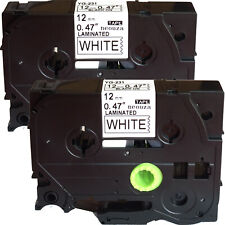 New 2 Pack Black on White Label Tape 12mm For Brother TZe Tz  231 P-Touch 26.2ft