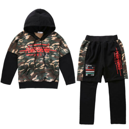 Kids Street Dance Costumes camouflage Jazz Hip Hop Sports Suit Hoodies Clothes