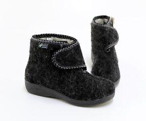 Details zu Hausschuhe Wörishofer Komfort Fußbett Winter Nadelfilz grau Gr. 37