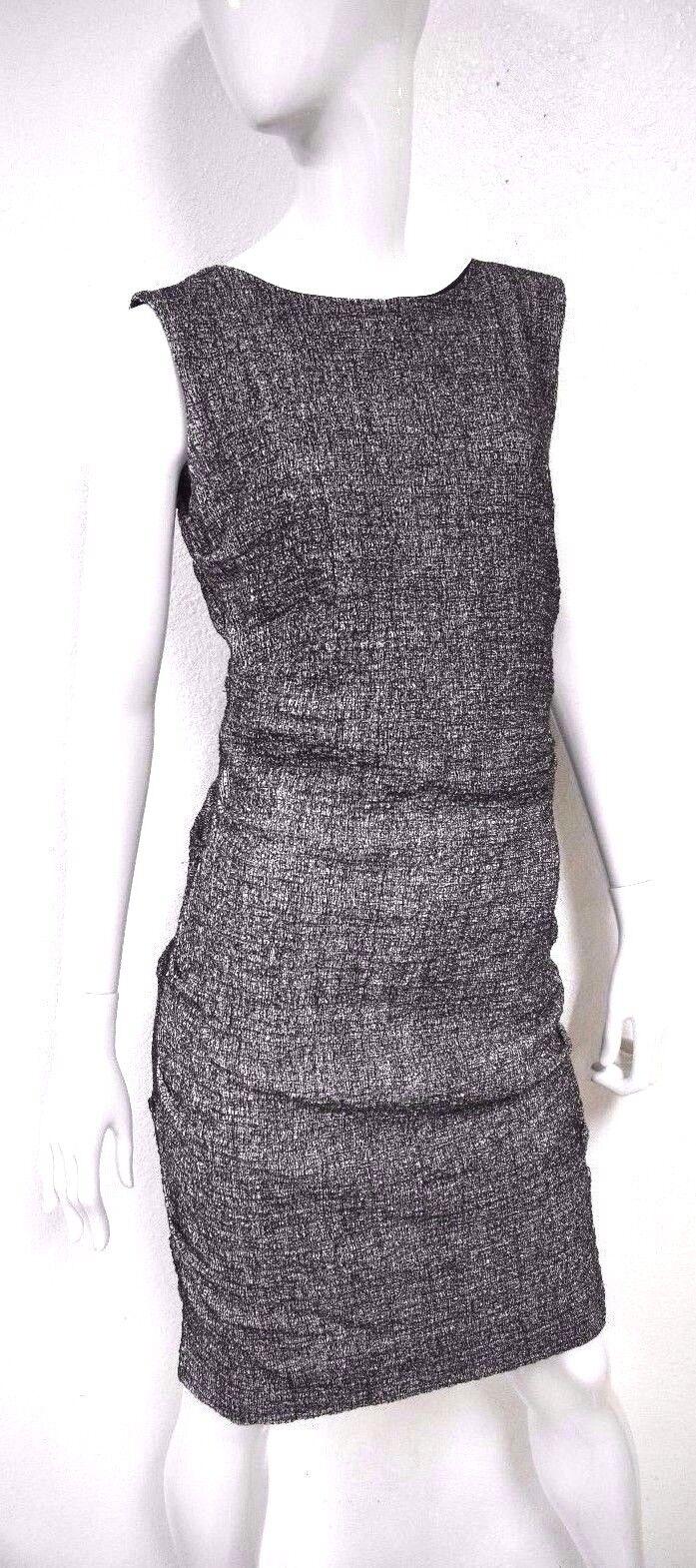 Nicole Miller Damen Meliert Shift Schwarz Weiß Ärmellos U-Stiefel-Ausschnitt Kleid