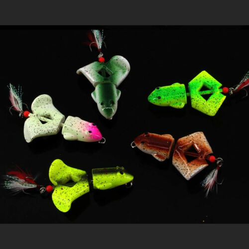 3PCS Topwater Fishing Lure Frog Plastic Popper Hard Swimbait 7cm 12.5g Treble
