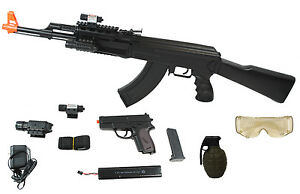 UKARMS-AK47-Airsoft-Electric-Rifle-AEG-Full-Auto-TACTICAL-BLACK-Laser-and-Light