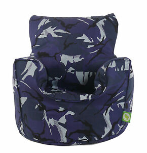 Cotton-Urban-Camo-Camouflage-Blue-Bean-Bag-Arm-Chair-with-Beans-Child-Teen-size