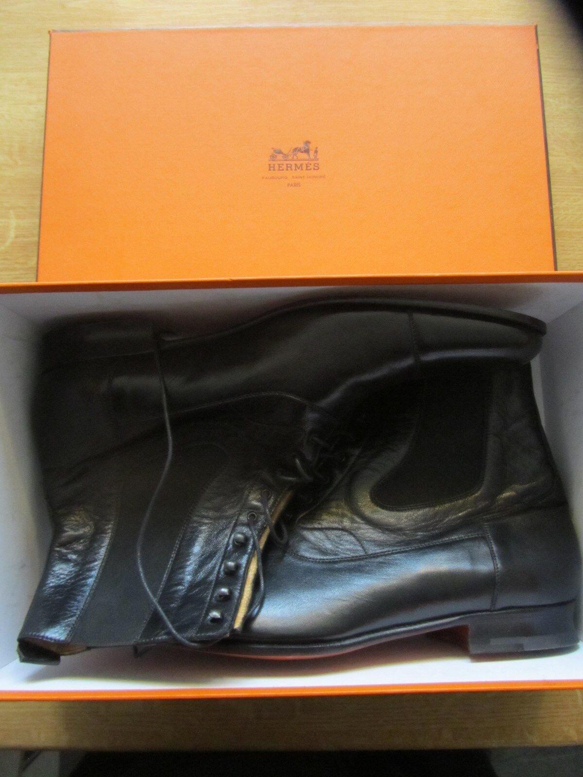 Hermes Paris señores botas, semelle cuir, tamaño 45. nuevo con caja de cartón.