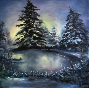 Original-Winter-painting-snow-sunset-woodland-lake-landscape-oil-canvas-signed