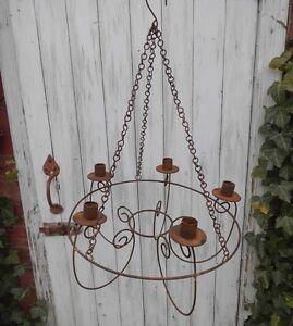 garten kronleuchter rost l ster f r kerzen antik landhausstil leuchter metall ebay. Black Bedroom Furniture Sets. Home Design Ideas
