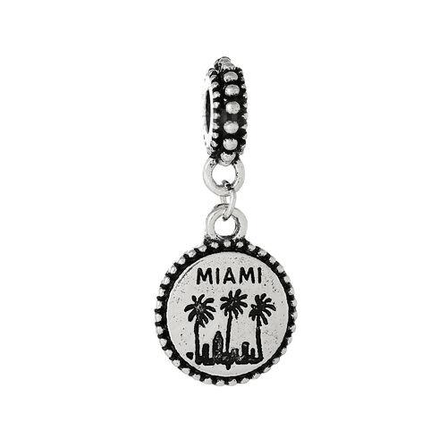 Miami Palm Trees Beach Skyline Dangle Bead fits Silver European Charm Bracelets