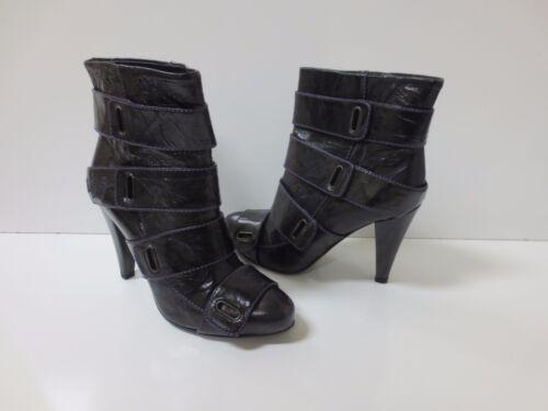 MISS SIXTY Vania Black Leather Purple Stitch Strap