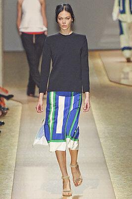 Celine New Authentic Geometric Pleated Silk Runway Skirt Phoebe Philo $2650 rare