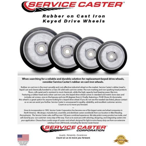 "3//4/"" Bore Service Caster 8/"" x 2/"" Rubber Tread on Cast Iron Keyed Drive Wheel"