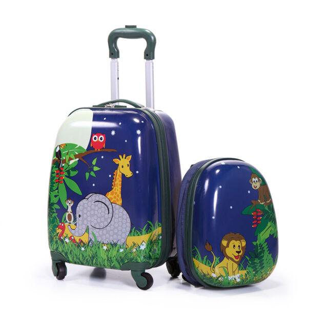 acae0ef59eae 2Pc Kids Carry On Luggage Set Hard Upright Side Hard Shell Suitcase12