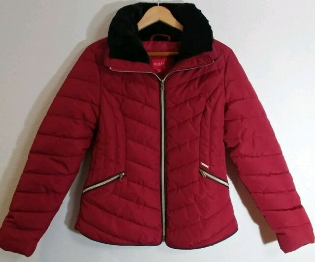 427b7e9fe GUESS Los Angeles Womens Down Insulated Quilted Red Jacket Size Medium