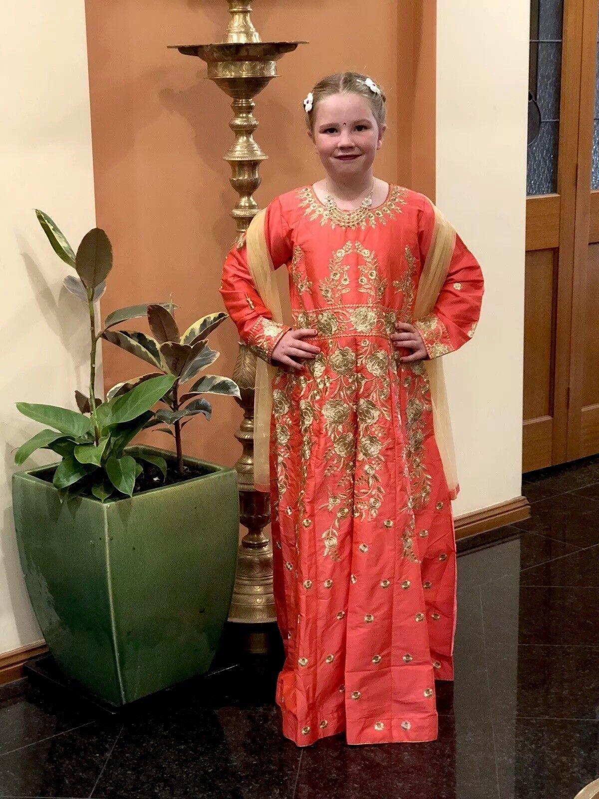 "24"" 24"" 24"" Size 3 4 Age Girls Salwar Kameez Indian Dress Kids Bollywood Peach gold A8 7beb66"