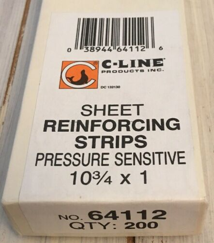 10 3//4 x 1 200//BX 038944641126 C-Line® Self-Adhesive Reinforcing Strips