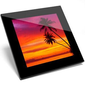 1 X Amazing Sunset Palm Tree Verre Coaster-cuisine étudiant Qualité Cadeau #8269-afficher Le Titre D'origine Emballage Fort