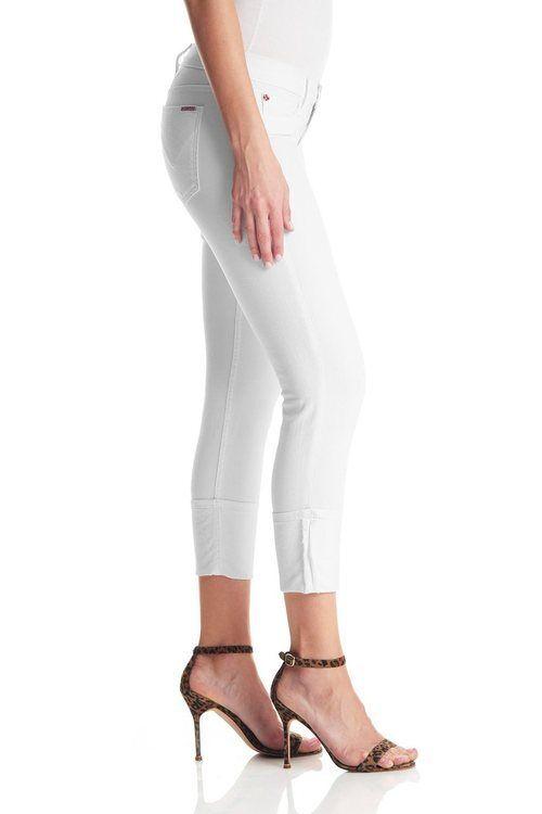 Hudson Muse Crop Jeans Low Rise Skinny with Cuff Größe 25 Weiß