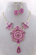 Gold With Purple Ornate Design Necklace Set Rhinestone Fashion Jewelry NEW