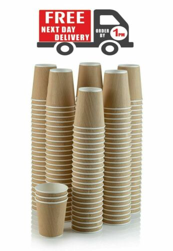 1000 X 8oz Kraft Triple Walled Disposable Paper Ripple Hot and Cold Coffee Cups