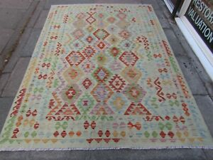 Kilim-Old-Traditional-Hand-Made-Afghan-Oriental-Blue-Wool-Large-Kilim-247x177cm