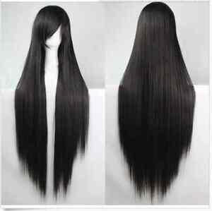 Women's Long Straight Black Cosplay Costume Wig Heat ...