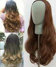 Long Straight Wavy Loose Curly 3/4 Head Wig,OMBRE DIP DYE,Black Blonde Brown