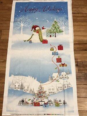 Handmade Snowman Cardinal Fabric Panel Blanket Cotton and Flannel