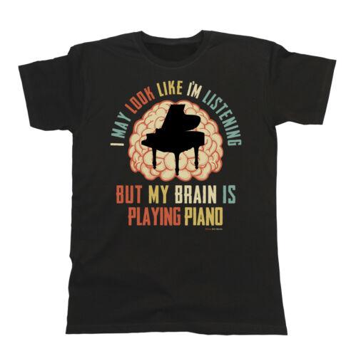 Homme Femme pianiste T-shirt mon cerveau joue PIANO MUSIC TEE Cadeau Noël