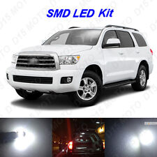 13x White LED Interior Bulbs + License Plate Lights for 2008-2016 Toyota Sequoia