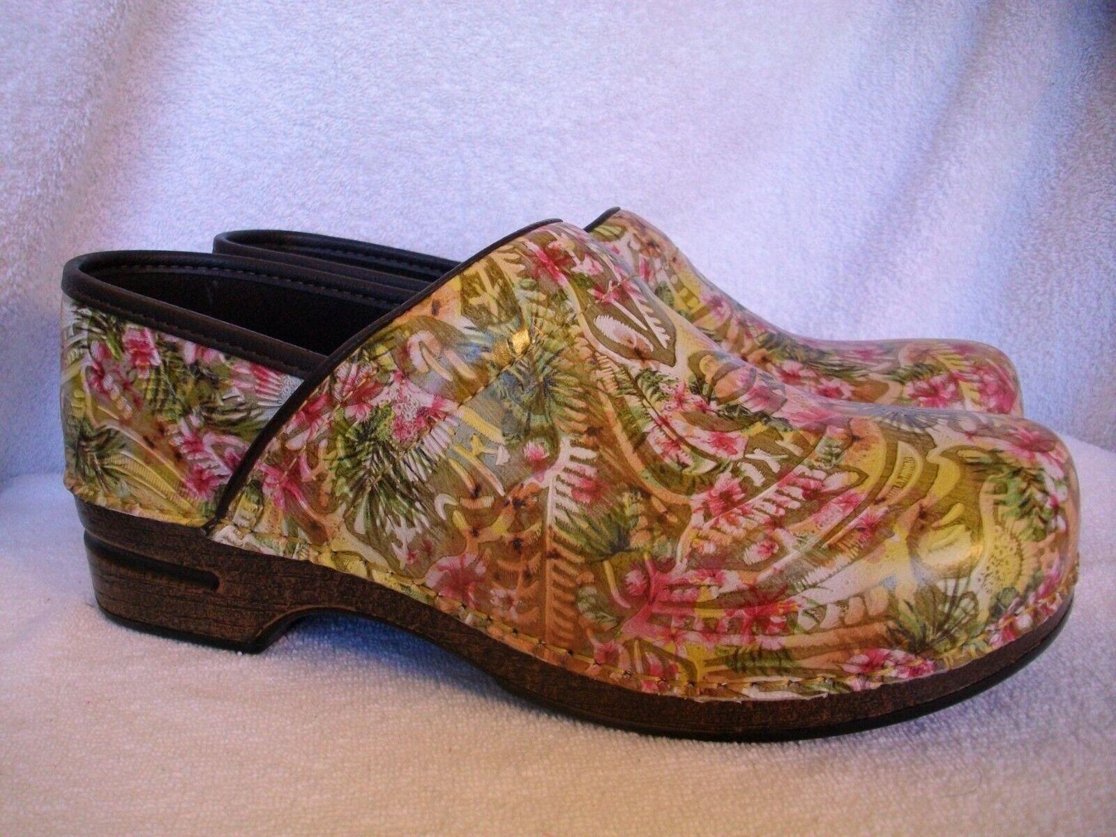 Nouveau Femmes Dansko Pro XP Cuir Vintage Floral Slip-on Clogs 42 11.5-12 US