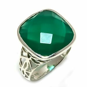 Green-Onyx-Natural-Gemstone-Handmade-925-Sterling-Silver-Ring-Size-8-R-51