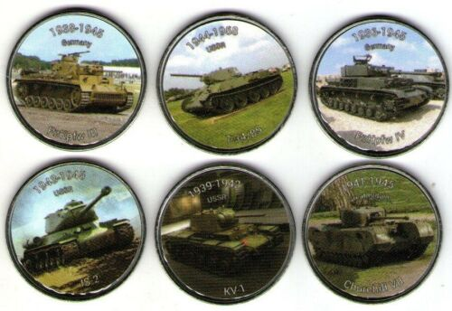 Somaliland 2018 10 shillings 6 colored coins set Tanks