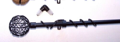 19mm Black Bay Window Curtain Pole w Metal Twisted Cage Rope or Ball Finials 3m