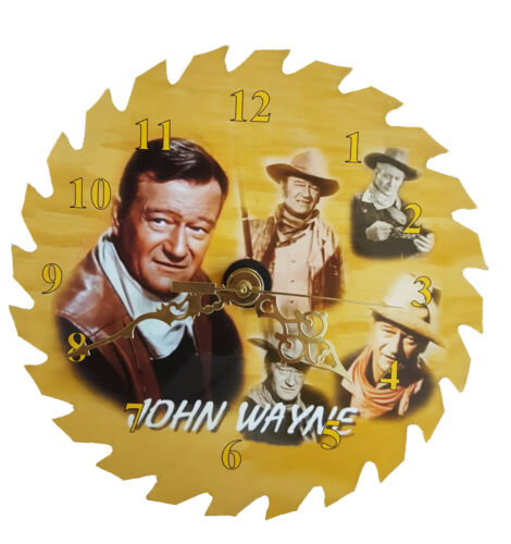 """John Wayne 7 1//4/"""" REAL Saw Blade Clock"""