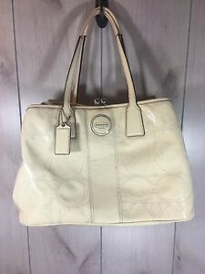 Image Is Loading Coach Perforated Off White Cream Patent Leather Shoulder