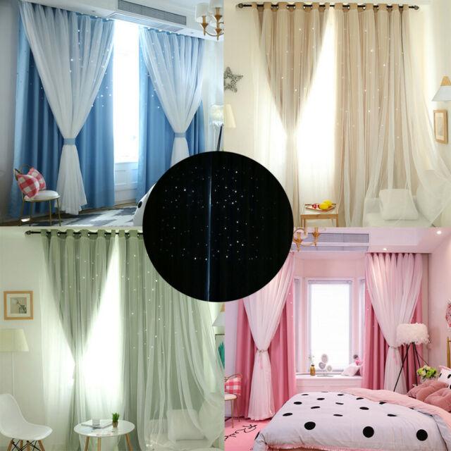 ⭐Double Layer Yarn Tulle Star Sky Sheer Curtain Tulle Window Voile Drape Valance