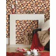 HOLDEN DECOR STACKED LOGS WALLPAPER (97710) - NEW WOOD BURNER