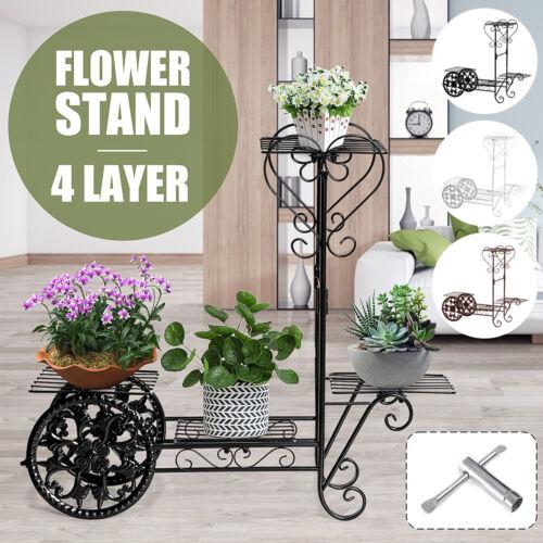 4Tier Metal Plant Stand Flower Pot Holder Shelves Garden In Outdoor