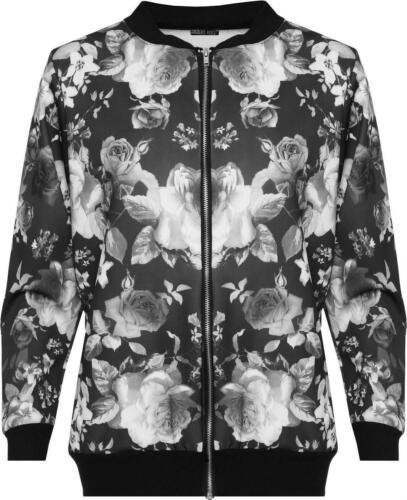 New Ladies Plus Size Printed Bomber Zip Up Long Sleeve Jackets 14-28