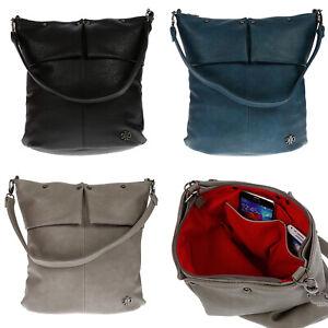 Damentasche-Umhaengetasche-Handtasche-Schultertasche-Leder-Optik-Tasche-Schwarz
