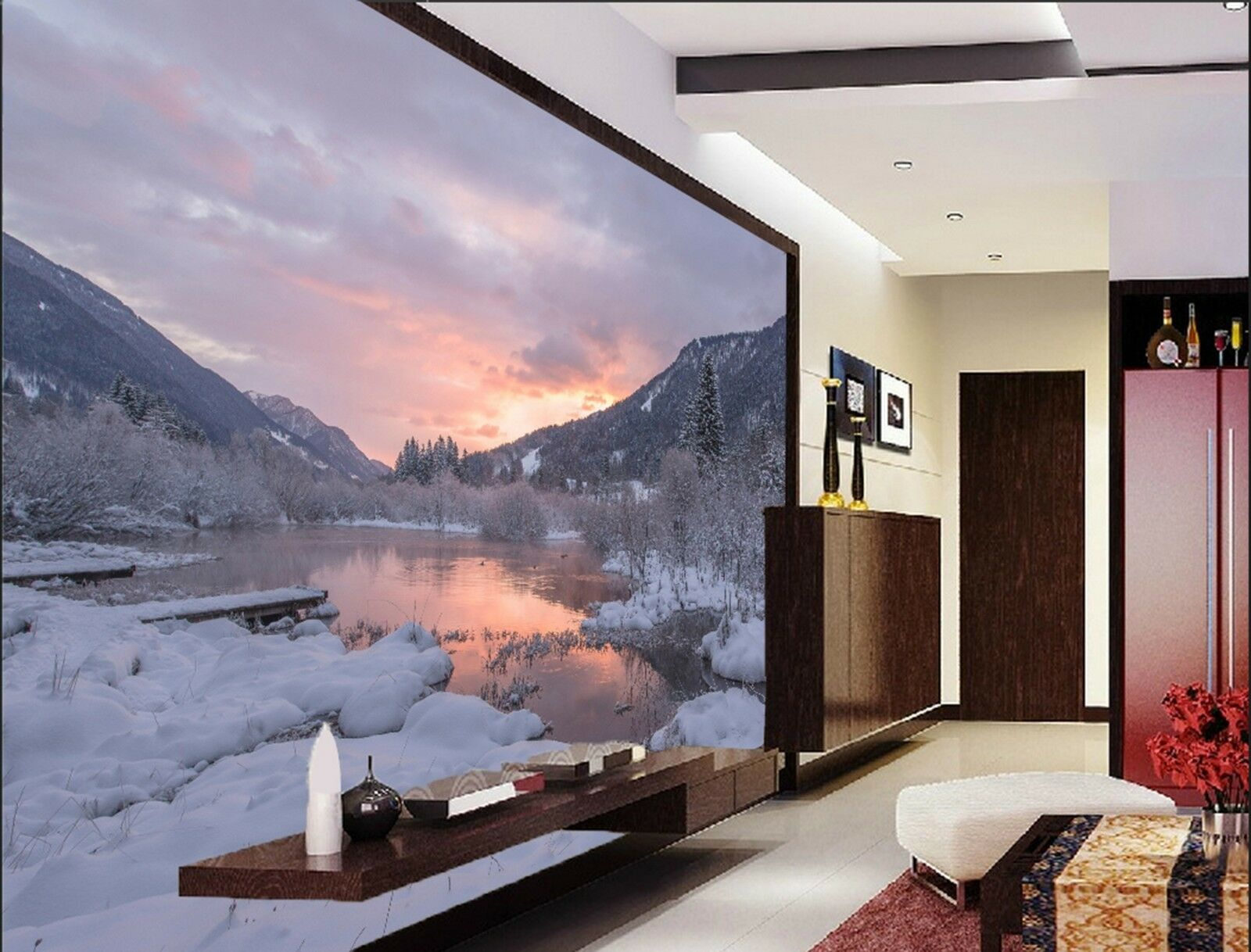 3D Sunset Snow road Wall Paper Print Decal Wall Deco Indoor wall Mural