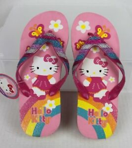NEW Hello Kitty Girls Flip Flop Wedge Sandals Youth Size 4-5 Pink Glitter NWT