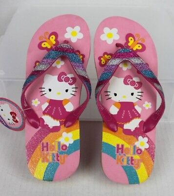 4b9d7c01b NWT Girls HELLO KITTY Themed Flip Flop Wedge Sandals Youth Size 4-5 Pink  Glitter