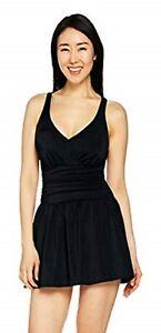 e71c24b191 Denim   Co. Beach Ruched Flounce Swim Dress Black A288836 Size 18W ...